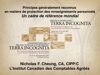 Principes g�n�ralement reconnus  en mati�re de protection des renseignements personnels