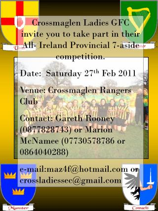 Crossmaglen Ladies Provincial 7-a-Sides Saturday 27 th  February 2011 At