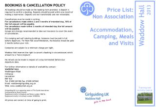 Price List: Non Association  Accommodation, Camping, Meals and Visits