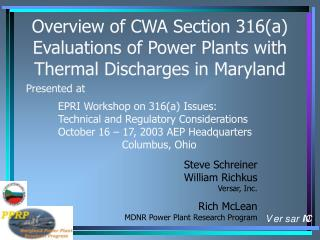 Overview of CWA Section 316(a) Evaluations of Power Plants with Thermal Discharges in Maryland