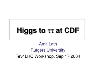 Higgs to  tt  at CDF