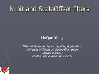N-bit and ScaleOffset filters