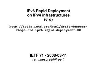 IPv6 Rapid Deployment on IPv4 infrastructures (6rd) ‏