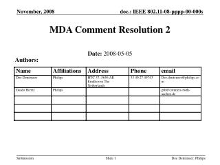 MDA Comment Resolution 2