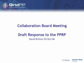 Collaboration Board Meeting Draft Response to the PPRP
