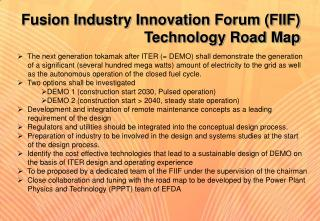 Fusion Industry Innovation Forum (FIIF)  Technology Road Map