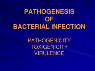 PATHOGENESIS  OF  BACTERIAL INFECTION  PATHOGENICITY TOXIGENICITY  VIRULENCE