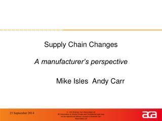 Supply Chain Changes A manufacturer�s perspective