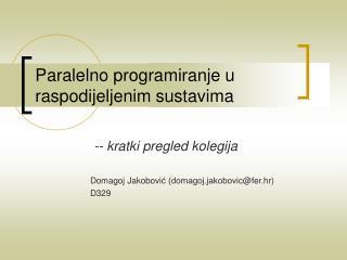 Paralelno programiranje u raspodijeljenim sustavima