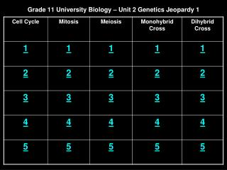 Grade 11 University Biology – Unit 2 Genetics Jeopardy 1