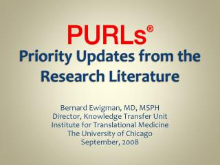 Priority Updates from the Research Literature