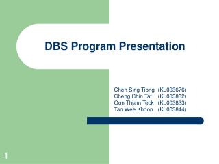 DBS Program Presentation