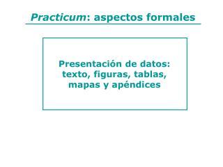 Practicum: aspectos formales