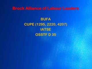 Brock Alliance of Labour Leaders