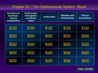 Chapter 20 – The Cardiovascular System:  Blood