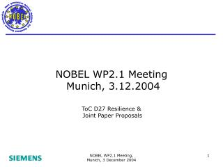 NOBEL WP2.1 Meeting    Munich, 3.12.2004