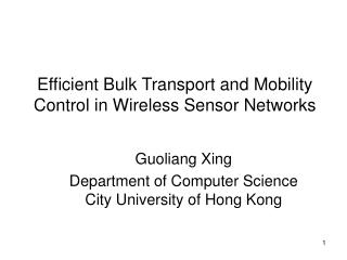 Efficient Bulk Transport and Mobility Control in Wireless Sensor Networks