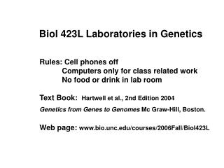 Rules: Cell phones off 	Computers only for class related work 	No food or drink in lab room