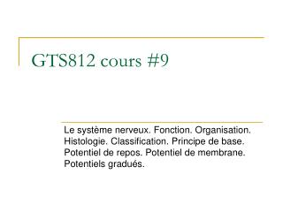 GTS812 cours #9
