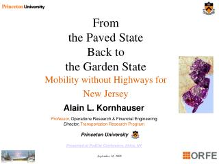 From  the Paved State  Back to  the Garden State Mobility without Highways for  New Jersey