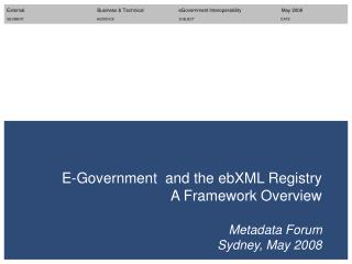 E-Government  and the ebXML Registry A Framework Overview Metadata Forum Sydney, May 2008