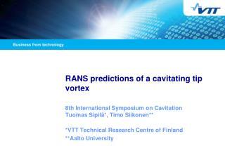 RANS predictions of a cavitating tip vortex