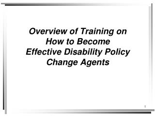 Overview of Training on How to Become Effective Disability Policy Change Agents