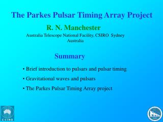 The Parkes Pulsar Timing Array Project