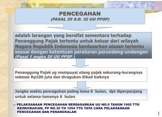 PENCEGAHAN (PASAL 29 S.D. 32 UU PPSP)