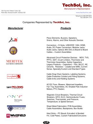 TechSol, Inc.  Manufacturer's Representative 72A Taunton Street, Suite 102