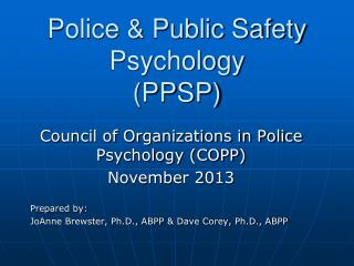 Police & Public Safety Psychology (PPSP)