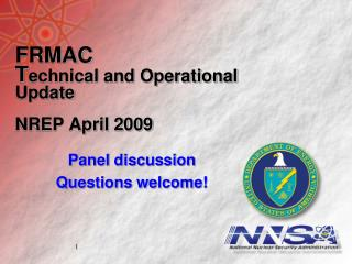 FRMAC  Technical and Operational Update  NREP April 2009