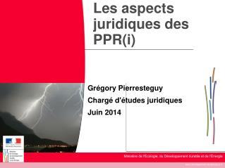 Les aspects juridiques des PPR(i)