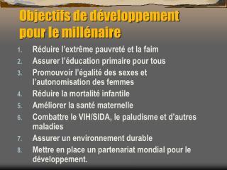 Objectifs de développement pour le millénaire