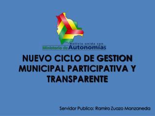 Servidor Publico: Ramiro  Zuazo  Manzaneda