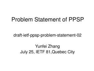 Problem Statement of PPSP
