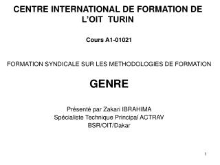 CENTRE INTERNATIONAL DE FORMATION DE L'OIT  TURIN