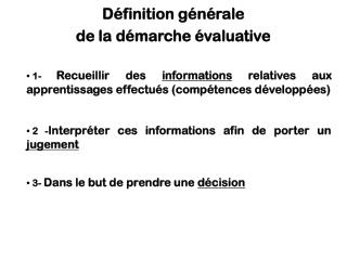 D finition g n rale   de la d marche  valuative