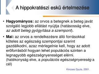 A hippokratészi eskü értelmezése
