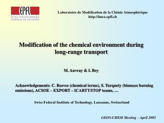 Modification of the chemical environment during long-range transport
