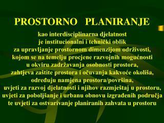 PROSTORNO   PLANIRANJE