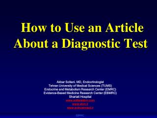How to Use an Article About a Diagnostic Test