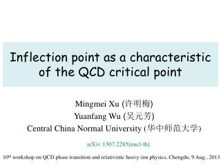 Inflection point as a characteristic of the QCD critical point