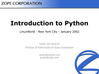 Introduction to Python LinuxWorld - New York City - January 2002