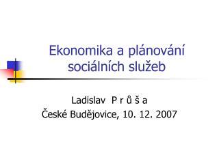 Ekonomika a plánování sociálních služeb