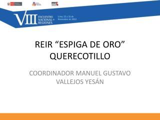 """REIR """"ESPIGA DE ORO"""" QUERECOTILLO"""