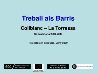 Treball als Barris Collblanc – La Torrassa Convocatòria 2008-2009 Projectes en execució. Juny 2009