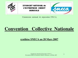 Convention   Collective  Nationale synthèse SNECA au 28 Mars 2007
