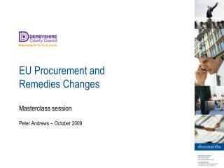 EU Procurement and Remedies Changes
