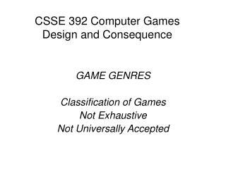 CSSE 392 Computer Games